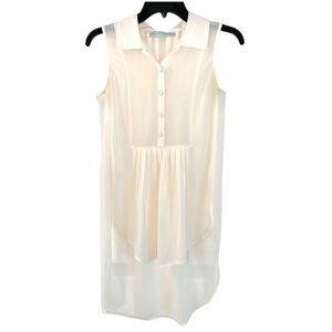 NWOT HAUTE SOCIETY Sheer Ivory Button Long Top
